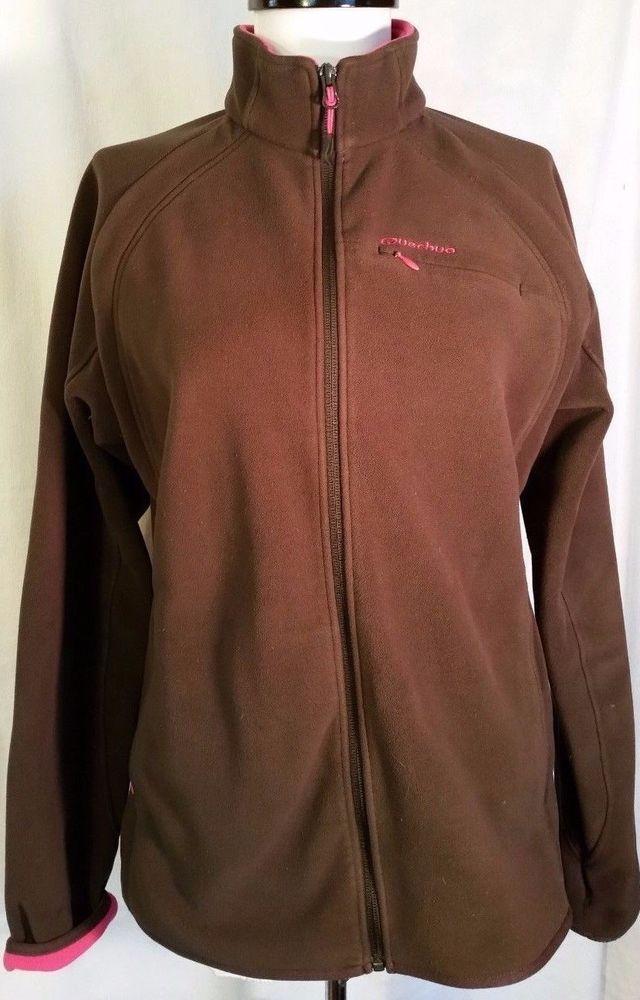 Quechua Decathlon Fleece Jacket Sweatshirt Zip Brown Pink Womens M Medium  #DecathlonCreation #TrackJacket