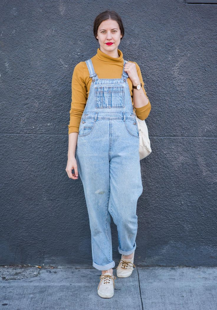 "Reba, 28""I bought my denim jumpsuit at White Elephant Sale in Oakland this Sunday, the turtleneck is from Muji and the shoes Eddie Bauer with my own leather laces. My style is pretty minimal. I like linen and cotton, boxy, baggy clothes, neutral colors like beige, and nothing too showy.""Mar 9, 2015 ∙ The Mission"