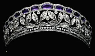 Oh, the search for a decent amethyst and diamond tiara.  This one is lovely, but I wish there was larger amethysts. The tiara belongs (or at least belonged) to the famous Fouché d'Otrante family. It was worn by Countess Birgitta d'Otrante at the weddingof HRH Princess Benedikte of Denmark to HSH Prince Richard of S-W-B in 1968.