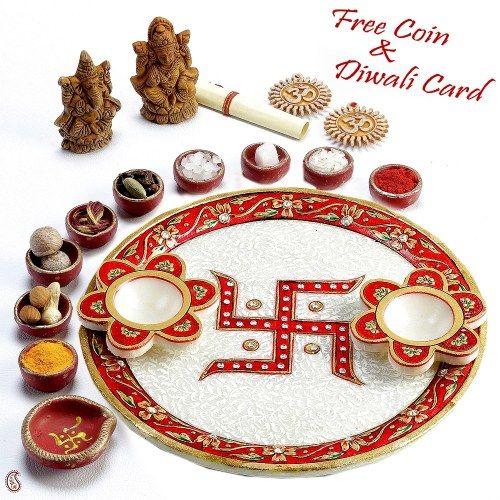 25 best ideas about diwali pooja on pinterest diwali for Aarti thali decoration with kundan