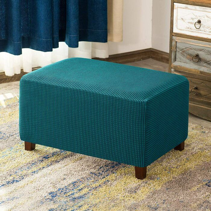 Aolise Stretchy Washable Textured Grid One Piece Box Cushion Ottoman Slipcover In 2020 Ottoman Slipcover Slipcovers Fabric Ottoman