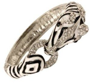Elegant Zebra with Crystals, Black and White Enamel Stripes Silver Hinged Bangle Bracelet Bracelets by Glamour Girl Gifts. $21.79