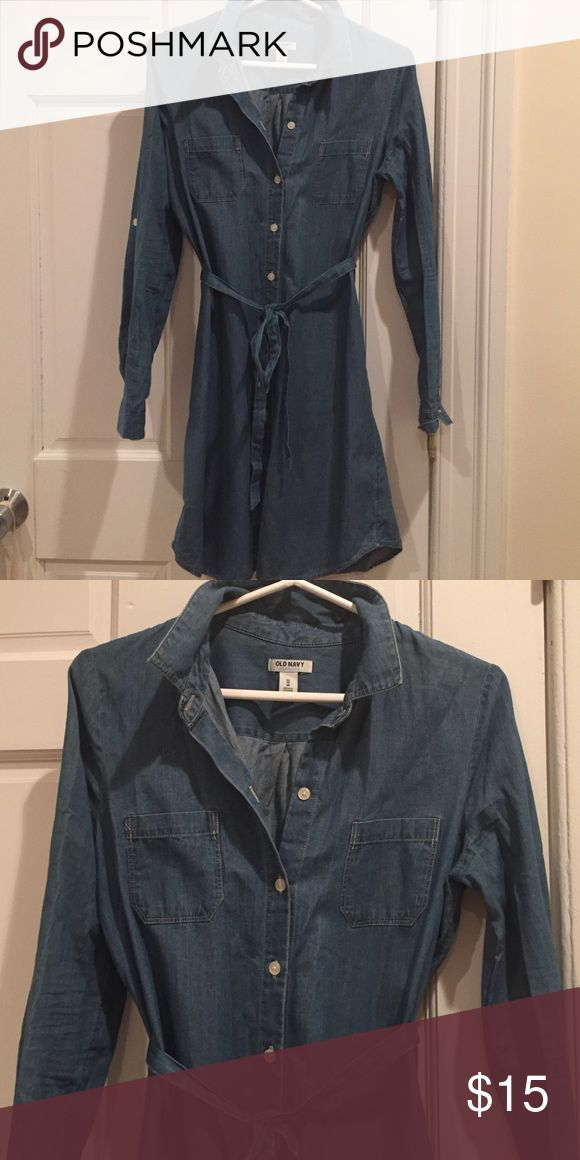 Old Navy Chambray shirt dress Old Navy shirt dress in super soft chambray fabric.  Size XS but fits like an S.  Perfect summer to fall dress, barely worn.  Perfect condition. Old Navy Dresses