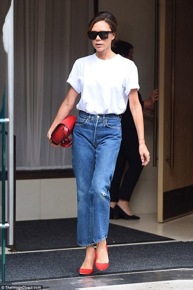 Victoria Beckham wearing Victoria Beckham Half Moon Box Bag in Ruby Red, Victoria Beckham Vbs13 Flat Top Sunglasses and Manolo Blahnik Bb Pumps in Red
