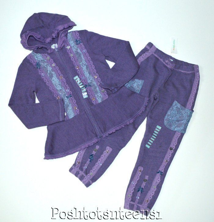 Naartjie Vintage Lace Trim French Terry Hoodie Pants Set 8 7 NWT sl1-5 #Naartjie #1valueperline