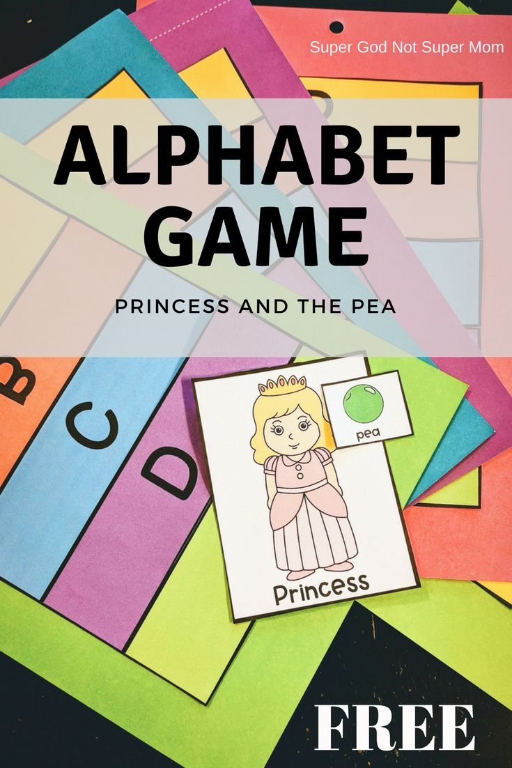 Free Alphabet Game- Looking for free, hands on alphabet games for preschool or kindergarten age kids?  The Princess and the Pea game is a free whole alphabet printable game that works perfect for home of school!  Click through for directions and to download your free printable!
