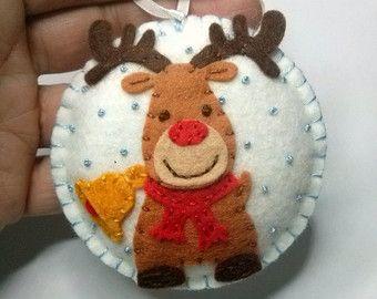 Christmas decoration Baby deer ornament / Felt by DusiCrafts