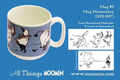 Moomin mug #9 by Arabia Mug #9 - Moomin boy Produced: 1992-1997 Illustrated by Tove Slotte and manufactured by Arabia.  The original illustrations can be found in Moominland Midwinter and in Comet in Moominland.