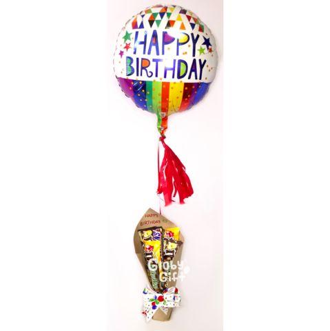 """Arreglo mediano (altura aproximada 85 cm) con globo metálico de 18"""" de cumpleaños, 3 globos de látex en forma de flor, espiral de látex y surtido de 6 chocolate"""