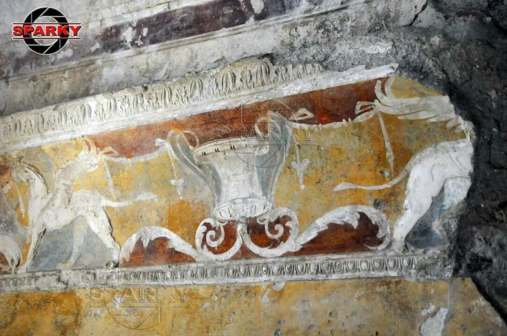Surviving fresco in the Forum Baths. Pompeii, May 7,  2016.  #italy #pompeiiruins #pompeii #archaeology #archaeological #vesuvius #photojournalism #photojournalist
