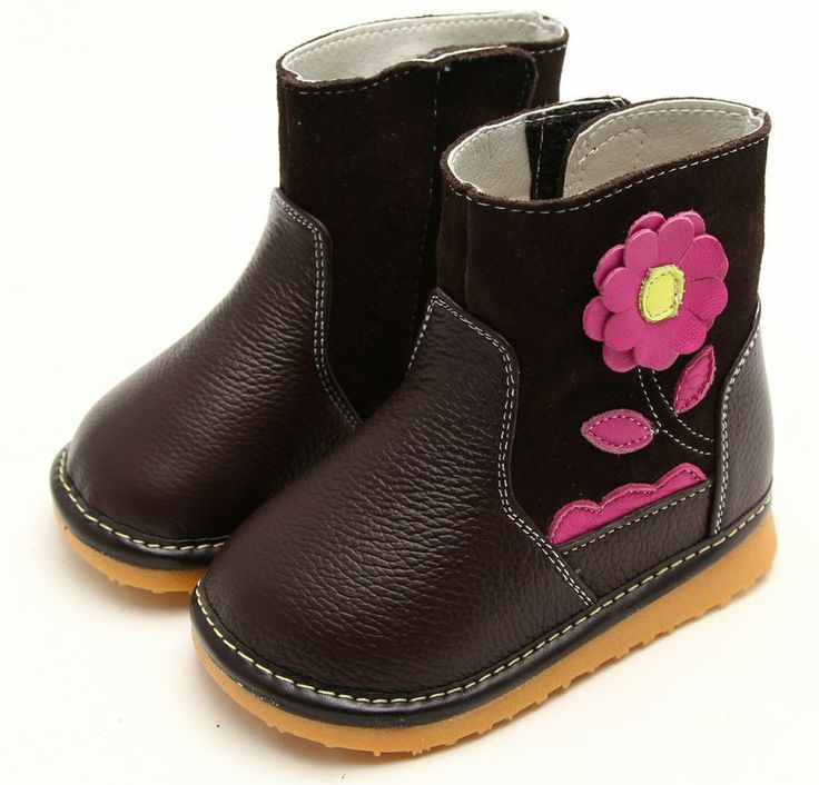 "Freycoo | Bloom | Chocolate Girls Boots Our ""Bloom"" leather boots for girls from Freycoo are just so sweet."