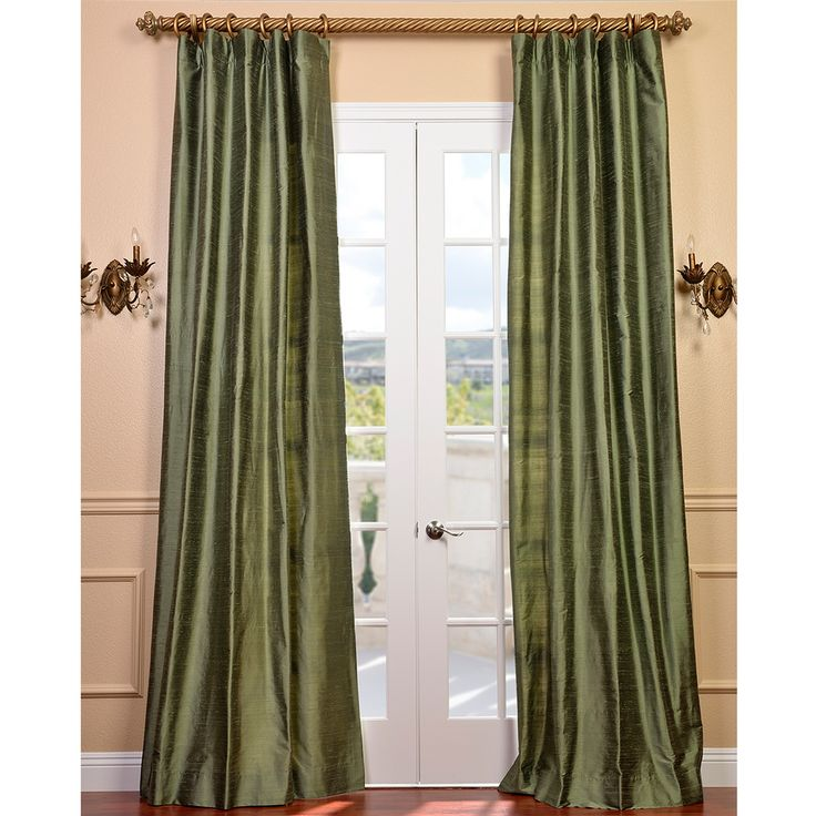 Exclusive Fabrics Signature Green Textured Silk Curtain Panel | Overstock.com Shopping – The Best Deals on Curtains