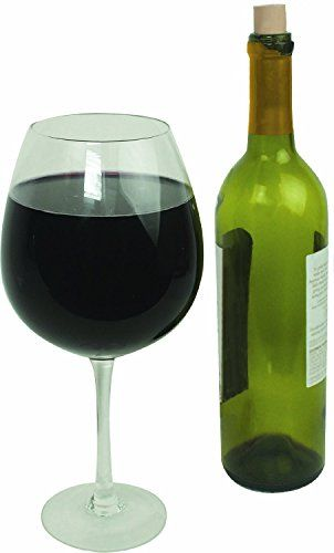 Oversized Extra Large Giant Wine Glass 335 oz  Holds a full bottle of wine 2 Glasses *** Click on the image for additional details.