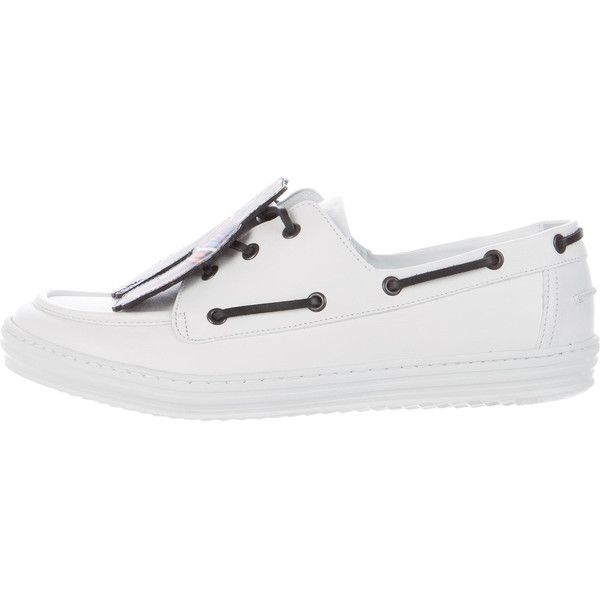 Pre-owned Pierre Hardy Scoubi Nautics Boat Shoes ($175) ❤ liked on Polyvore featuring men's fashion, men's shoes, men's loafers, white, pierre hardy mens shoes, mens boat shoes, mens topsiders, mens white boat shoes and mens leopard print shoes