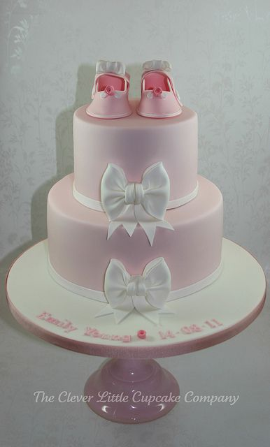 Bootee and Bows Christening Cake