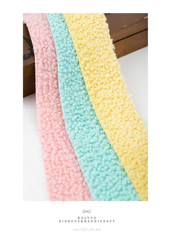 Terry Fluffy Knitted Fabric Ribbon / 2.5cm 4cm / 3 Color by HOLYCO