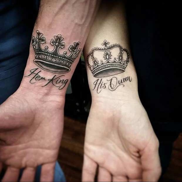 Her King, His Queen Wrist Tattoos