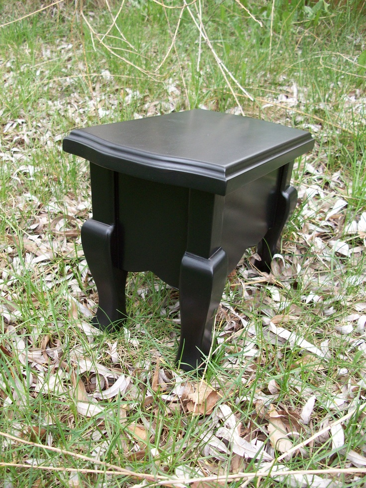 Satin Black Guitar Footstool with Victorian Aprons and Cabriole Legs