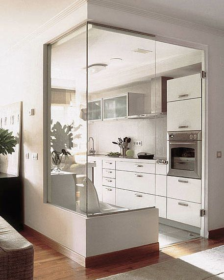 Make a small kitchen feel larger with glass!