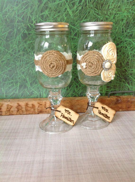 25 best ideas about mason jar burlap on pinterest bridal shower rustic rustic tea party and - Mason jar goblets ...