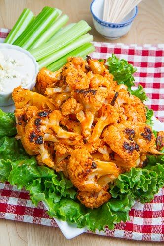 Buffalo Roasted Cauliflower. (Lower calories & fat by using light or fat free options)