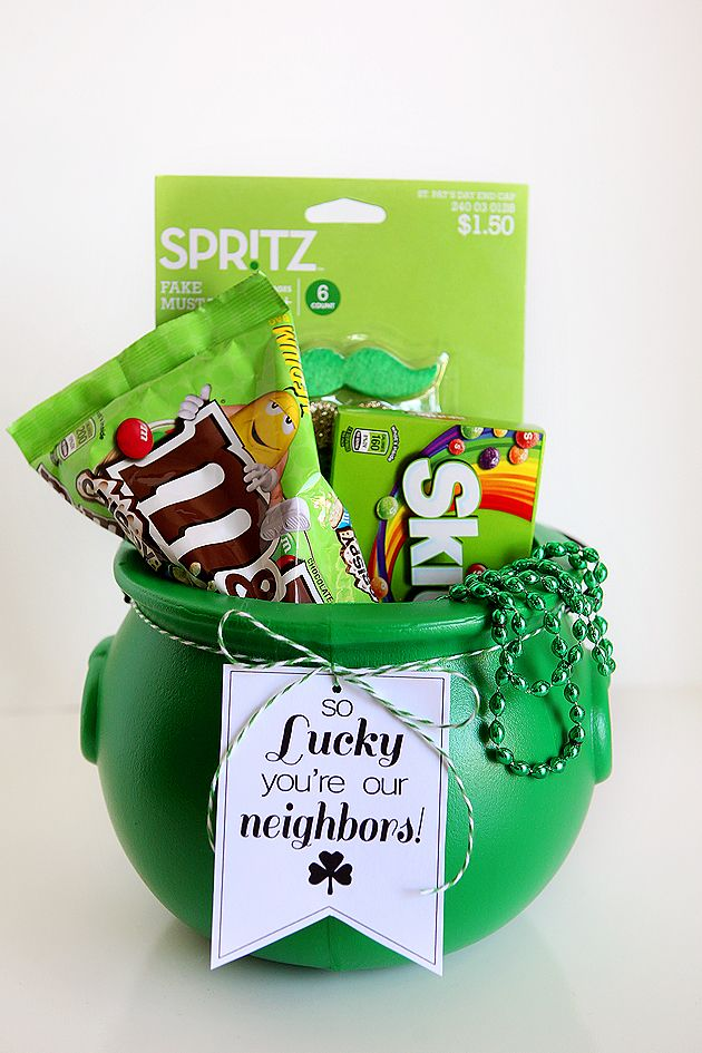 Pick up a green bucket at a party store near you, then fill it with fun treats, beads and mustaches. Next, click into this pin to download eighteen25's St. Patrick's Day printables. Last but not least, surprise your neighbors with a fun gift. You can also find St. Patrick's Day tags for your loved one, your child's teacher and their friends. These tags are the gold at the end of the rainbow.