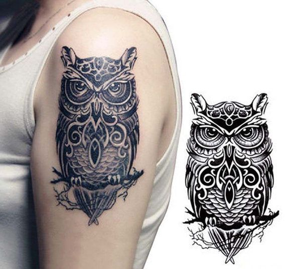 Large OWL Temporary Tattoo Stickers for Man and Women by Tempotats
