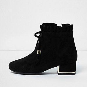 Girls black ruffle top block heel ankle boots