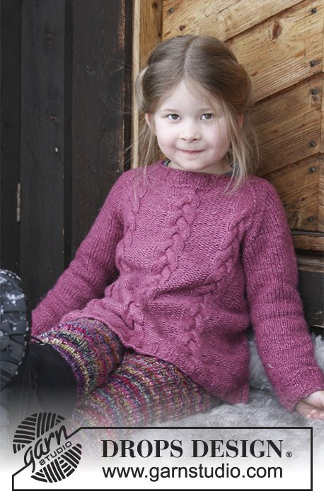 Ylva - Knitted jumper with cables and raglan for kids. Size 2 - 12 years Piece is knitted in DROPS Air. Free knitted pattern DROPS Children 30-3