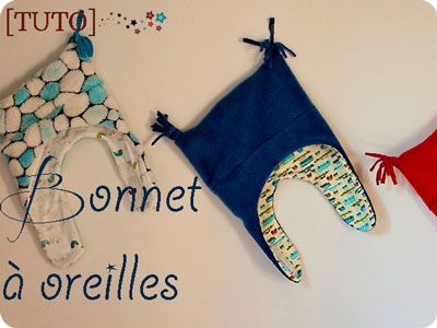 "Sewing tutorial (French): ""Le bonnet à oreilles,"" www.caudissou.fr; patron et tuto, bonnet-polaire pour les enfants. Make a child's polar fleece earflap hat, from caudissou blog."