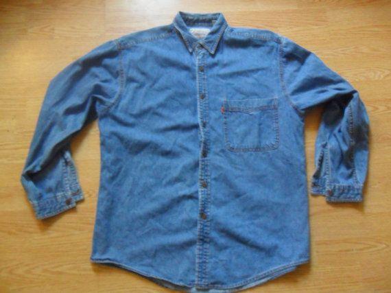 Levi's Denim Jean Button Up Collared Shirt 1980s by RetroFreshTees, $30.00