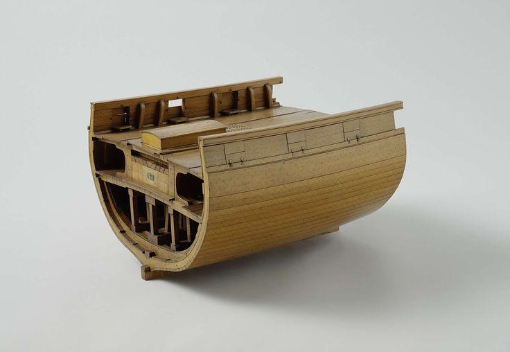Pieter Glavimans | Model van een mortierstelling op een bombardeerkorvet, Pieter Glavimans, 1842 - 1847 | Model van de dwarsdoorsnede van een schip, waarop de constructie van de ondersteuning van een mortierstelling is aangegeven. Het schip heeft twee dekken; in het ruim onder de mortierstelling zijn vijf kattesporen om en om aangebracht. Tussendeks zijn in lengterichting twee wanden aangebracht van opeengestapelde balken, verbonden door zwaluwstaarten, die het bovendek ondersteunen. De…
