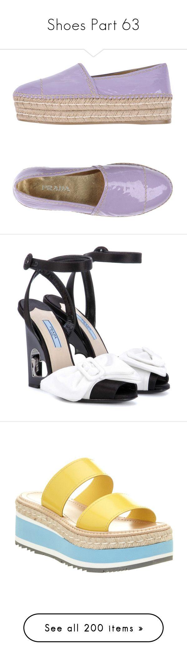 """Shoes Part 63"" by leanne-mcclean ❤ liked on Polyvore featuring shoes, sandals, light purple, flatform shoes, flatform espadrilles, round cap, leather shoes, leather espadrille sandals, black and prada footwear"