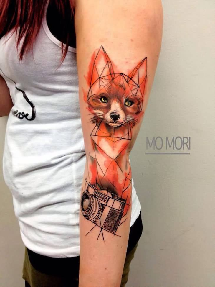 Watercolor Geometric Fox With Camera Tattoo On Girl Left Sleeve