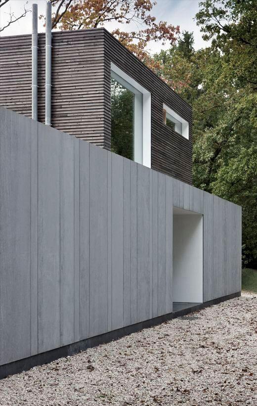 Wood meets fibre cement facade materials. Modern villa in Belgium. arch: Johan…