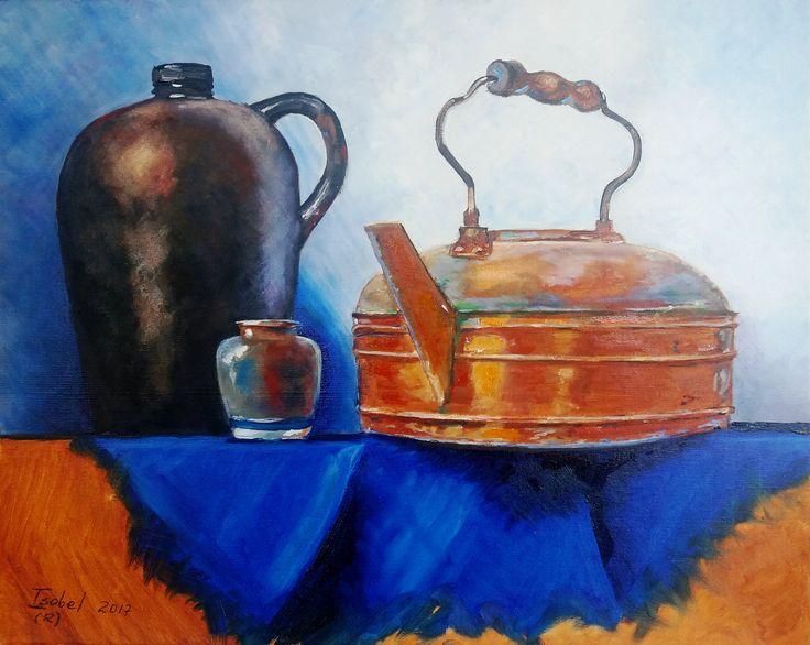 Isabel Nuñez Bodegón Tetera Cobre y Jarrón - óleo sobre tela de 50 x 40 cms (Réplica libre)