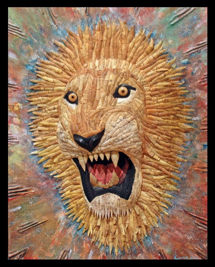 """""""Pride in the Leader""""  29.5"""" x 38""""  recycled bike tires, recycled wine corks, recycled phone book, recycled fishing line, yellow LEDs, glue, foam, and acrylic on polylaminate and wood frame       #recycling #recycle #art #AndrewCorkeArt #NewAgeArt #Nature #Lion #tire #tires #biketires #Wine #Winecorks #corks  #Life #Mixedmedia #3D #Recycledmaterial #Fineart #Awesome #Epic #Eyes #glowingeyes     All images © AndrewCorkeArt www.AndrewCorke.Com"""