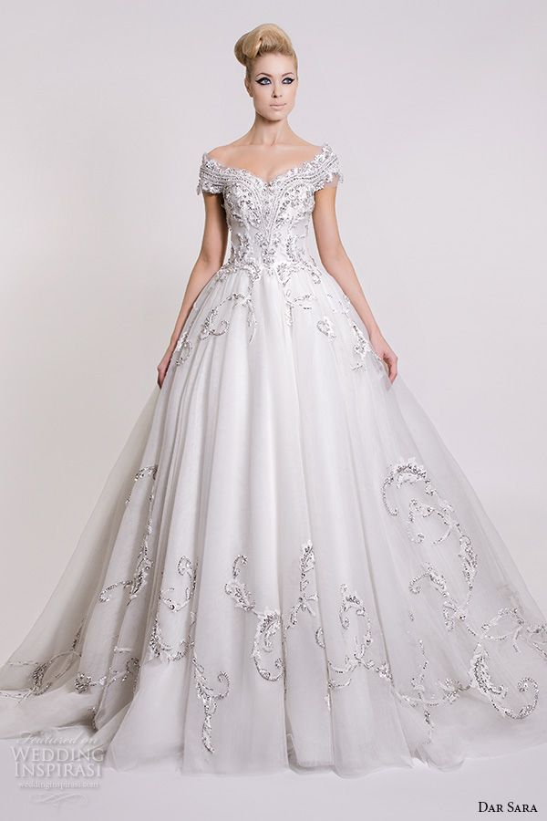 dar sara bridal 2016 wedding dresses beautiful a line ball gown off the shoulder neckline embroidered bodice