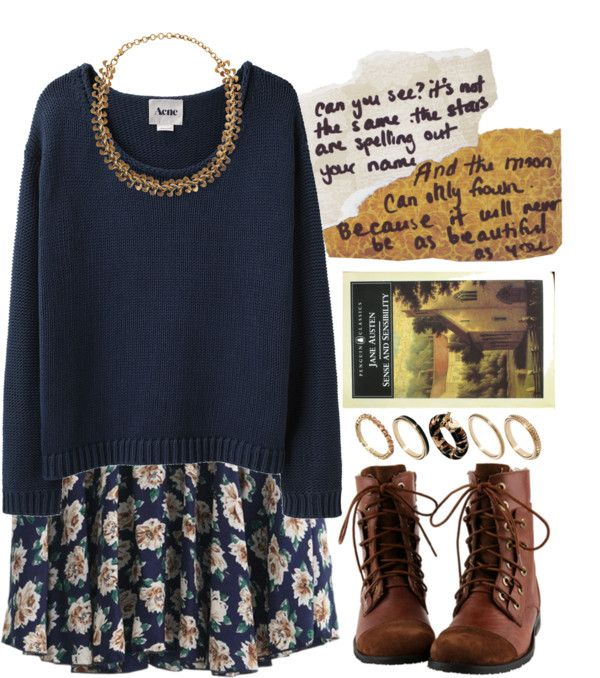 Cute outfit - I really like combining a dress with a comfy sweater. The shoes are also really nice.