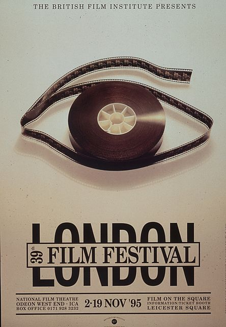 (1995 London Film Festival poster) I really like the logo design as the film and the film reel are shaped into an eye, which denotes watching the films as well as having connotations of 'having the eye' to spot techniques and different uses of props within the films. Although it would be complex to linocut this design, I think it would link in with the media theme as a whole, as all the media and film courses require an eye for detail.