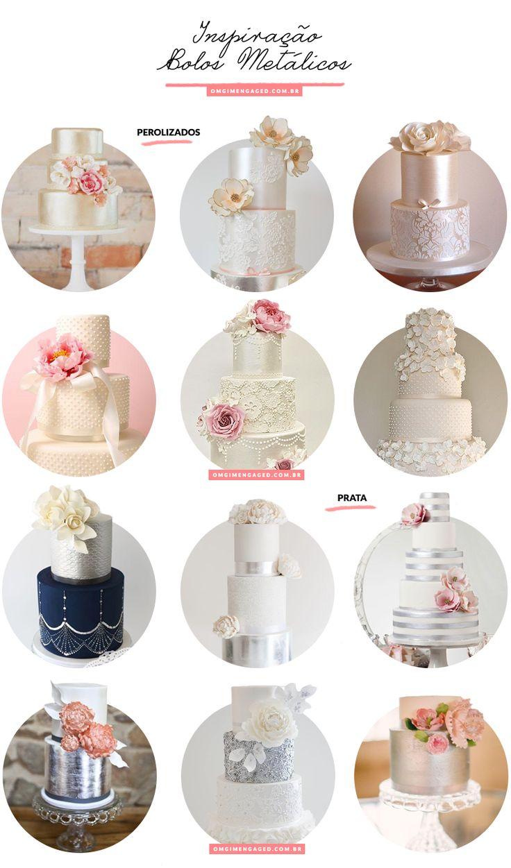 Blog OMG I'm Engaged - Inspiração bolos de casamento metálicos, pérola e prata.