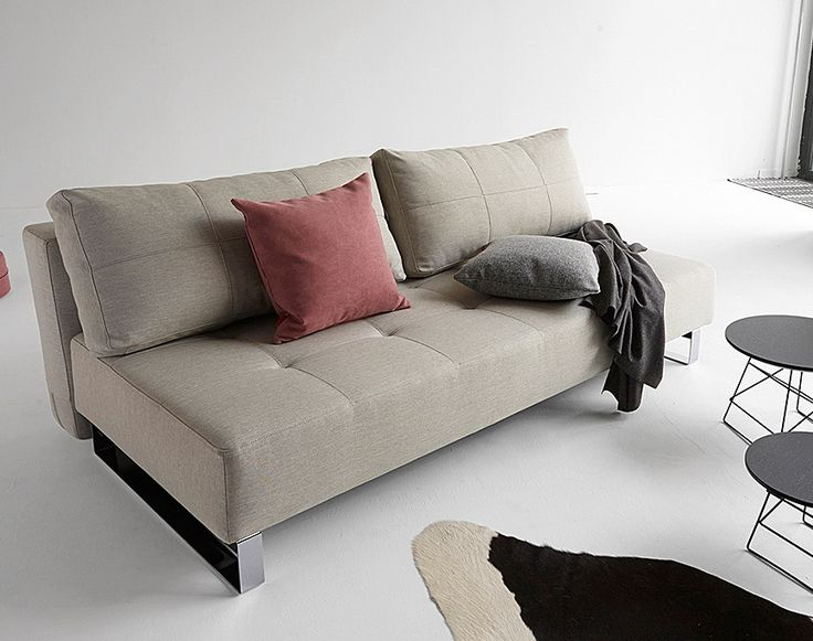 Supremax Deluxe Excess Sofa Bed | Mixed Dance Natural | Chrome Legs By  Innovation