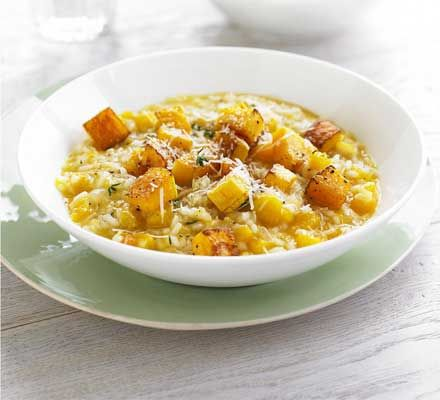 Roasted squash gives this vegetarian supper for two a deep autumnal flavour