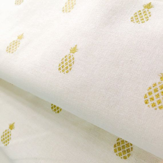Gold Pineapple on White 100% Cotton Fabric by SweetpeaAndLime on Etsy