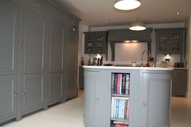 Kitchen painted in Farrow and Ball Plummett designed by Aberford Interiors