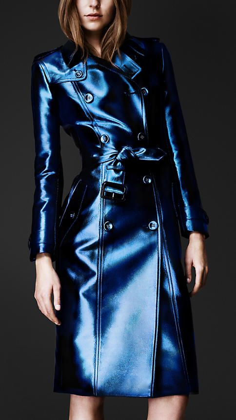 Burberry Bright Metallic trench coat in blue ink