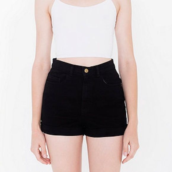 American Apparel High Waisted Shorts Black stretch bull denim shorts are always a necessity! These are such a great pair of shorts and have only been worn once. American Apparel Shorts Jean Shorts
