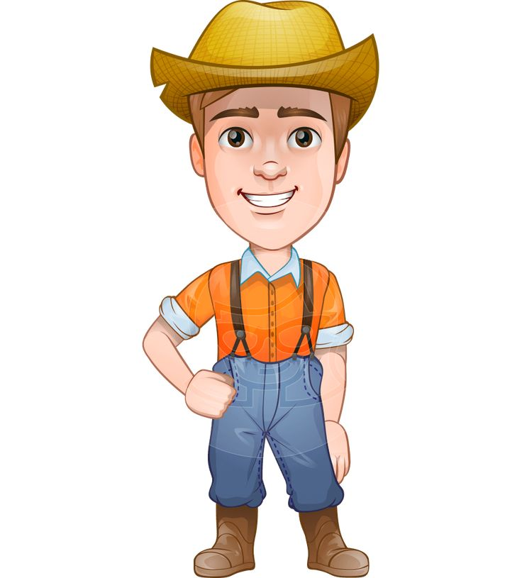 Arlo the Farming Pro: A farmer vector cartoon character illustrated in farming work clothes: high-waisted jeans with suspenders, a shirt with rolled sleeves, rubber boots and a typical hay farm hat. #vector #cartoon #character #farmer