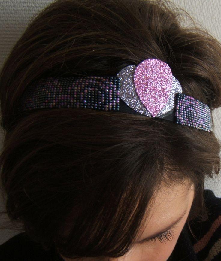 Bijou de tête, Bandeau Cheveux, Serre Tête, Headband Réglable Tissé en Perles et Paillettes Glitter Gris et Rose : Accessoires coiffure par emma-shop