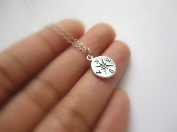 Small sterling silver Compass Necklace Find your by TheDirection, $24.00